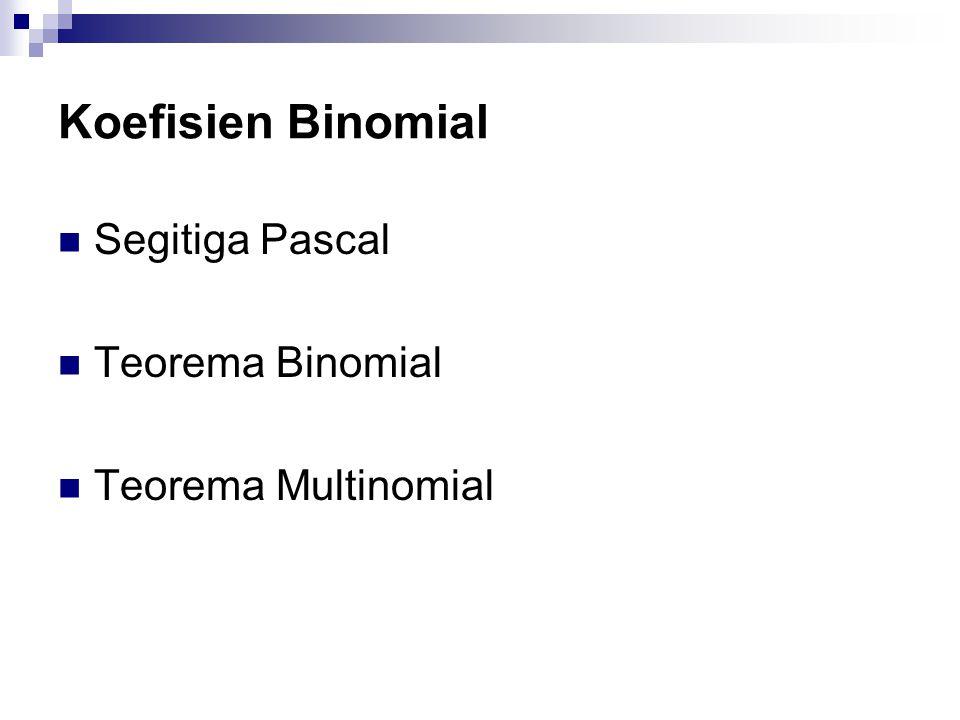 Koefisien Binomial  Segitiga Pascal  Teorema Binomial  Teorema Multinomial