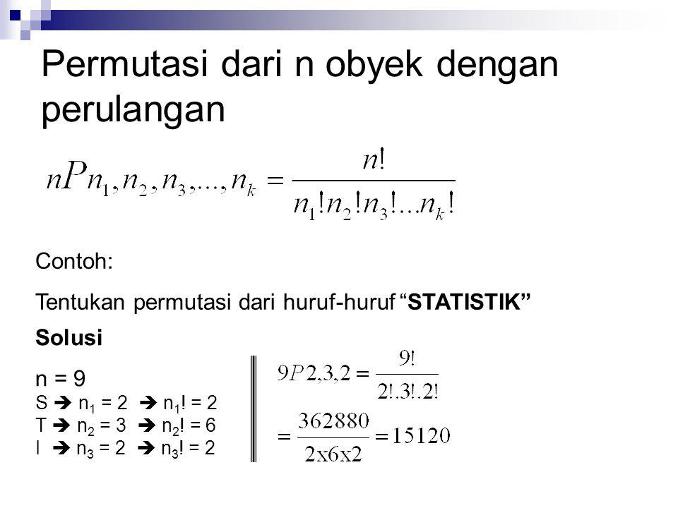 """Permutasi dari n obyek dengan perulangan Contoh: Tentukan permutasi dari huruf-huruf """"STATISTIK"""" Solusi n = 9 S  n 1 = 2  n 1 ! = 2 T  n 2 = 3  n"""