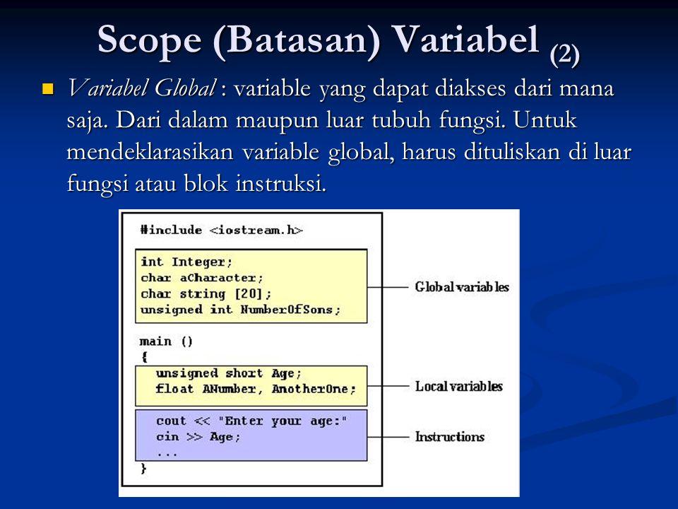 Scope (Batasan) Variabel (2)  Variabel Global : variable yang dapat diakses dari mana saja. Dari dalam maupun luar tubuh fungsi. Untuk mendeklarasika