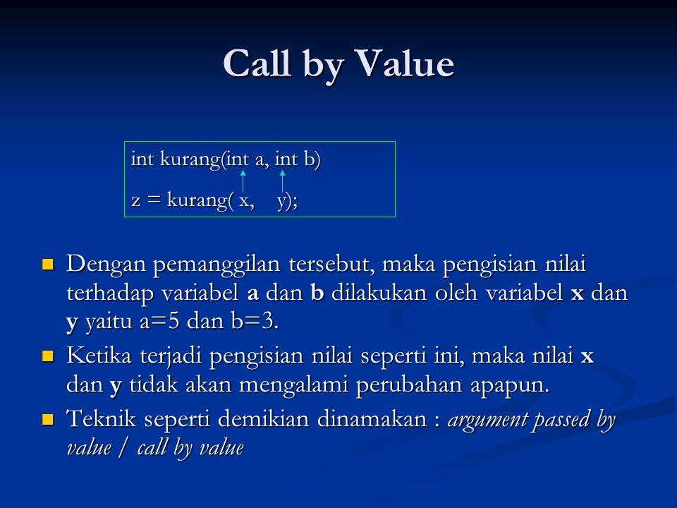 Call by Value  Dengan pemanggilan tersebut, maka pengisian nilai terhadap variabel a dan b dilakukan oleh variabel x dan y yaitu a=5 dan b=3.  Ketik