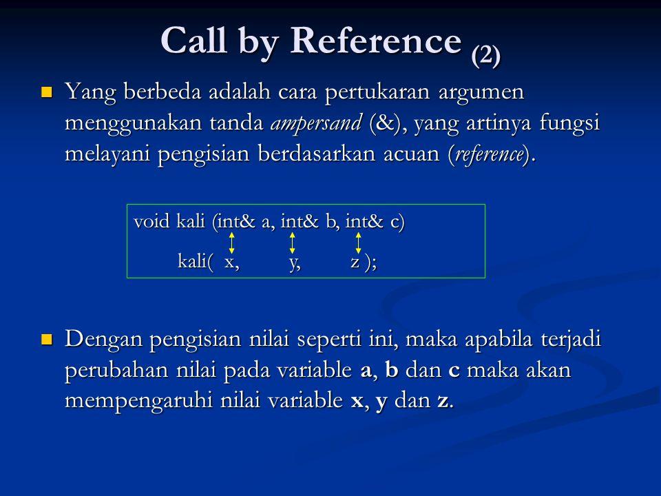 Call by Reference (2)  Yang berbeda adalah cara pertukaran argumen menggunakan tanda ampersand (&), yang artinya fungsi melayani pengisian berdasarka