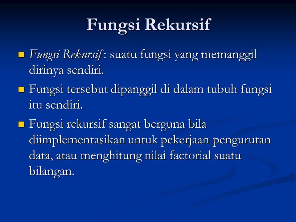 Fungsi Rekursif  Fungsi Rekursif : suatu fungsi yang memanggil dirinya sendiri.  Fungsi tersebut dipanggil di dalam tubuh fungsi itu sendiri.  Fung