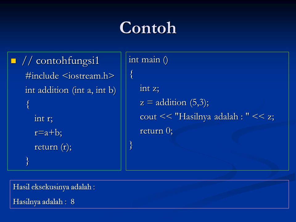 Prototype Fungsi (2)  Sintak prototype :  tipe nama (argumen1, argumen2,…);  Sama seperti pendeklarasian judul fungsi, kecuali :  Tidak memiliki baris pernyataan (tubuh fungsi) yang ditandai dengan { dan }.