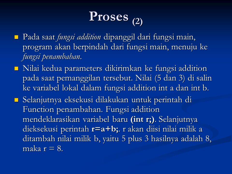 Proses (2)  Pada saat fungsi addition dipanggil dari fungsi main, program akan berpindah dari fungsi main, menuju ke fungsi penambahan.  Nilai kedua