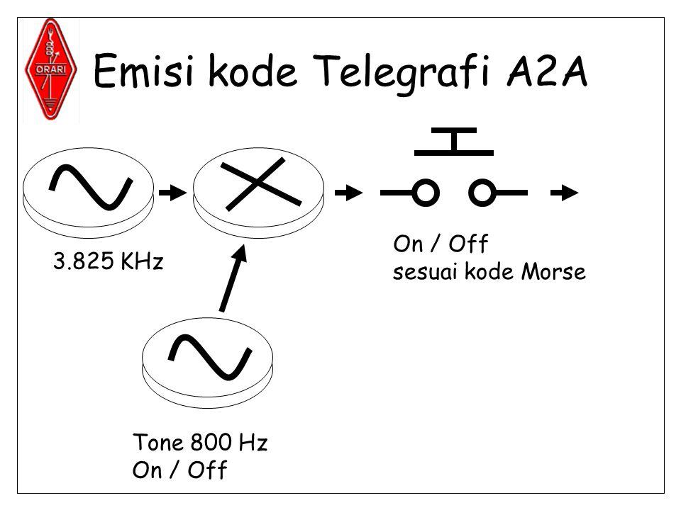 Emisi kode Telegrafi A2A 3.825 KHz Tone 800 Hz On / Off sesuai kode Morse