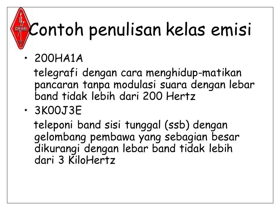 Contoh penulisan kelas emisi •200HA1A telegrafi dengan cara menghidup-matikan pancaran tanpa modulasi suara dengan lebar band tidak lebih dari 200 Hertz •3K00J3E teleponi band sisi tunggal (ssb) dengan gelombang pembawa yang sebagian besar dikurangi dengan lebar band tidak lebih dari 3 KiloHertz