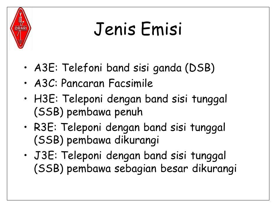 Jenis Emisi •A3E: Telefoni band sisi ganda (DSB) •A3C: Pancaran Facsimile •H3E: Teleponi dengan band sisi tunggal (SSB) pembawa penuh •R3E: Teleponi dengan band sisi tunggal (SSB) pembawa dikurangi •J3E: Teleponi dengan band sisi tunggal (SSB) pembawa sebagian besar dikurangi