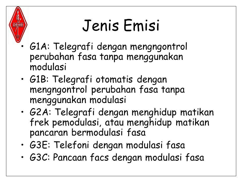 Jenis Emisi •G1A: Telegrafi dengan mengngontrol perubahan fasa tanpa menggunakan modulasi •G1B: Telegrafi otomatis dengan mengngontrol perubahan fasa tanpa menggunakan modulasi •G2A: Telegrafi dengan menghidup matikan frek pemodulasi, atau menghidup matikan pancaran bermodulasi fasa •G3E: Telefoni dengan modulasi fasa •G3C: Pancaan facs dengan modulasi fasa