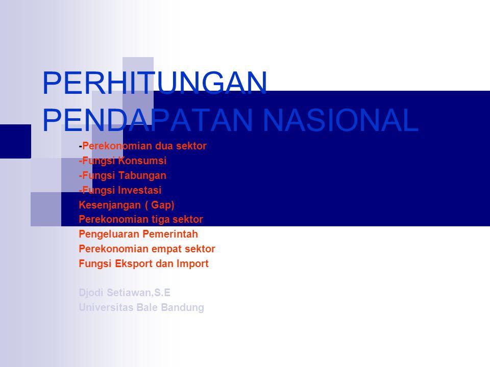 PERHITUNGAN PENDAPATAN NASIONAL -Perekonomian dua sektor -Fungsi Konsumsi -Fungsi Tabungan -Fungsi Investasi Kesenjangan ( Gap) Perekonomian tiga sekt
