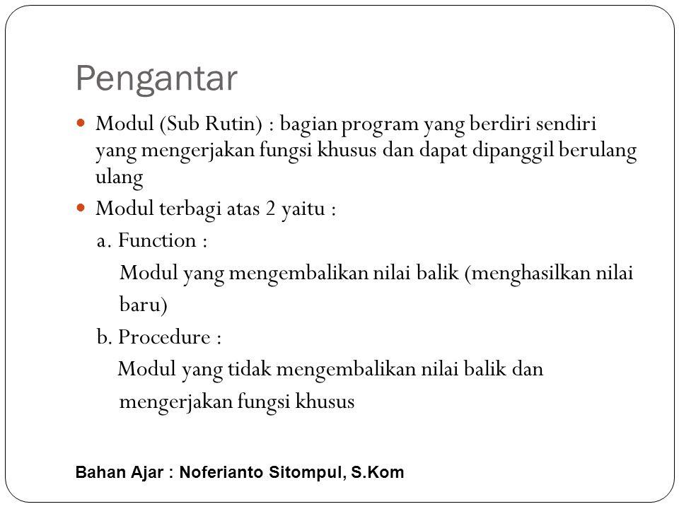 Bahan Ajar : Noferianto Sitompul, S.Kom Pengantar  Modul (Sub Rutin) : bagian program yang berdiri sendiri yang mengerjakan fungsi khusus dan dapat dipanggil berulang ulang  Modul terbagi atas 2 yaitu : a.