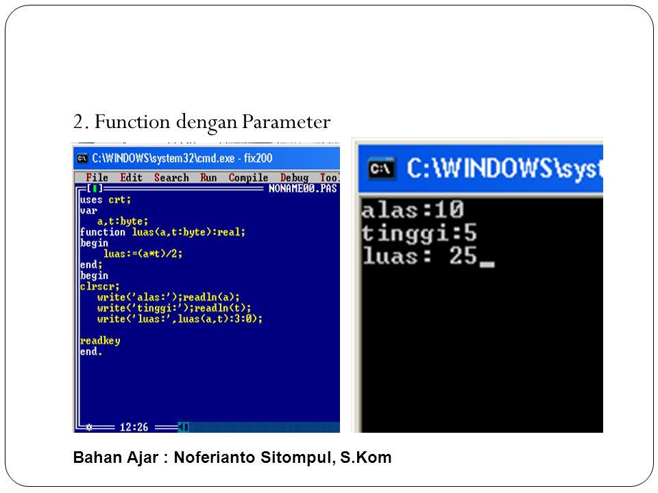 Bahan Ajar : Noferianto Sitompul, S.Kom 2. Function dengan Parameter