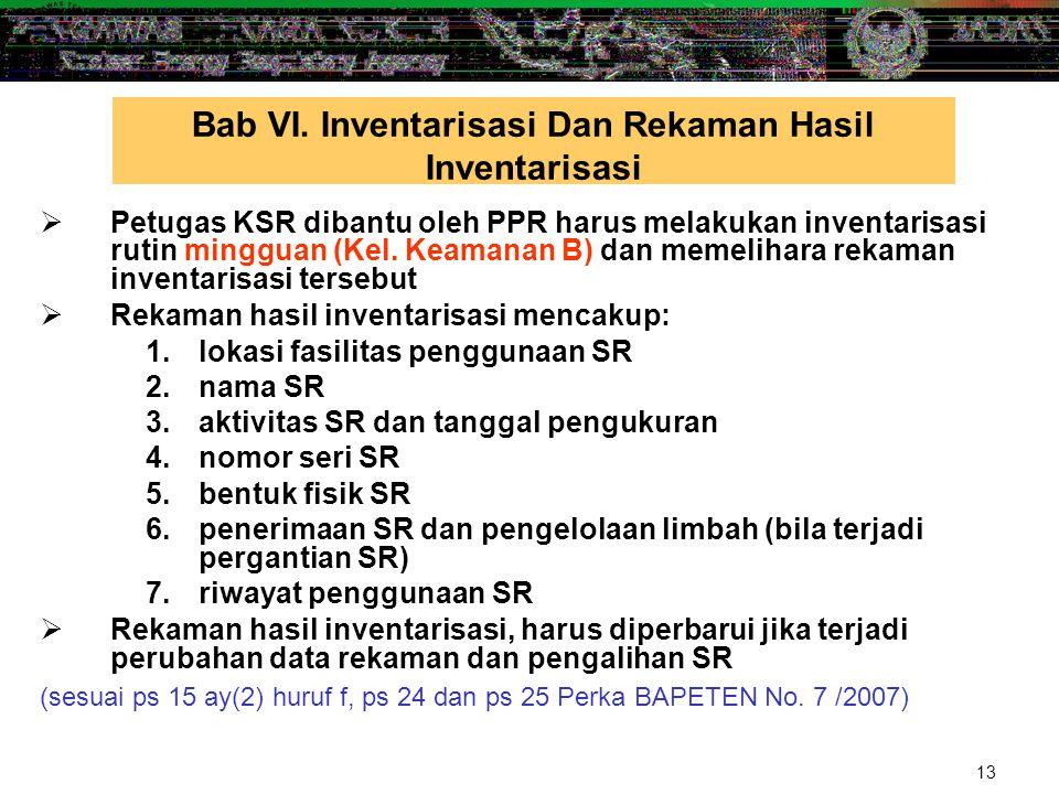 13  Petugas KSR dibantu oleh PPR harus melakukan inventarisasi rutin mingguan (Kel. Keamanan B) dan memelihara rekaman inventarisasi tersebut  Rekam