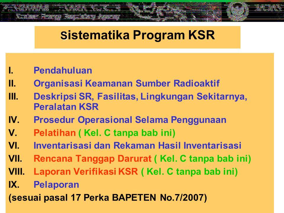 5 I.Pendahuluan II.Organisasi Keamanan Sumber Radioaktif III.Deskripsi SR, Fasilitas, Lingkungan Sekitarnya, Peralatan KSR IV.Prosedur Operasional Sel