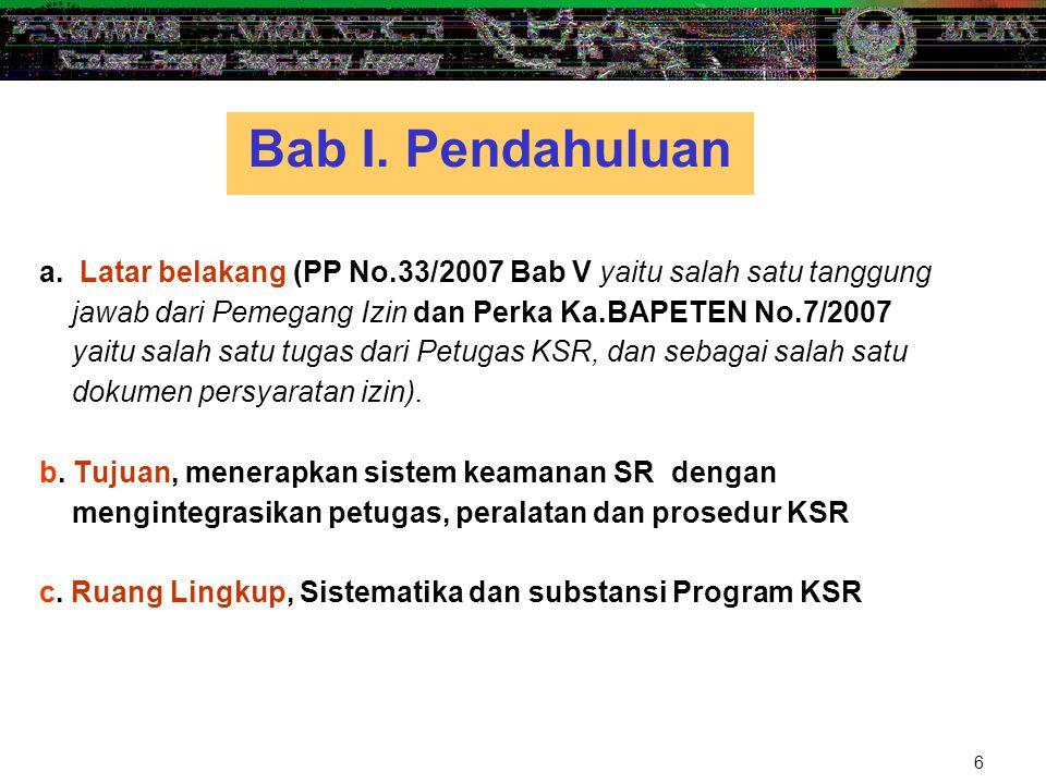 6 a.Latar belakang (PP No.33/2007 Bab V yaitu salah satu tanggung jawab dari Pemegang Izin dan Perka Ka.BAPETEN No.7/2007 yaitu salah satu tugas dari