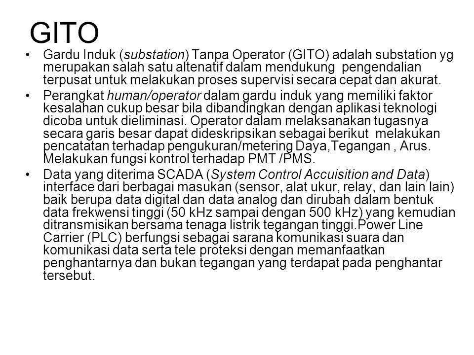 GITO •Gardu Induk (substation) Tanpa Operator (GITO) adalah substation yg merupakan salah satu altenatif dalam mendukung pengendalian terpusat untuk melakukan proses supervisi secara cepat dan akurat.