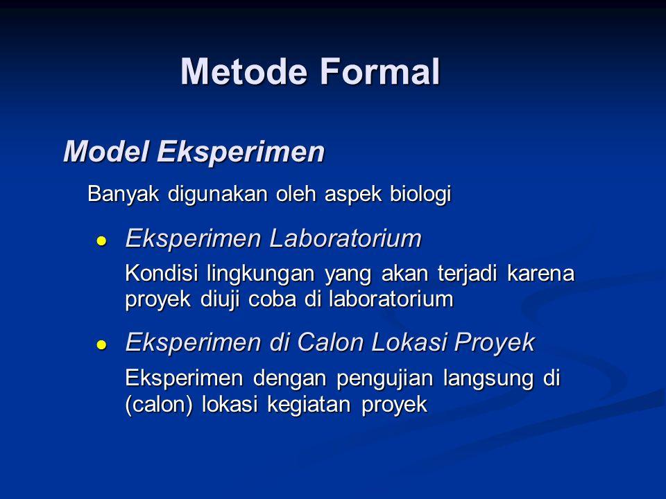 Model Eksperimen Banyak digunakan oleh aspek biologi  Eksperimen Laboratorium Kondisi lingkungan yang akan terjadi karena proyek diuji coba di labora