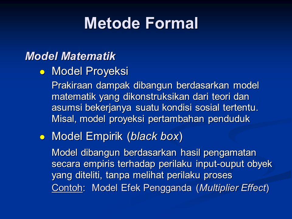 Metode Formal Model Matematik  Model Proyeksi Prakiraan dampak dibangun berdasarkan model matematik yang dikonstruksikan dari teori dan asumsi bekerj
