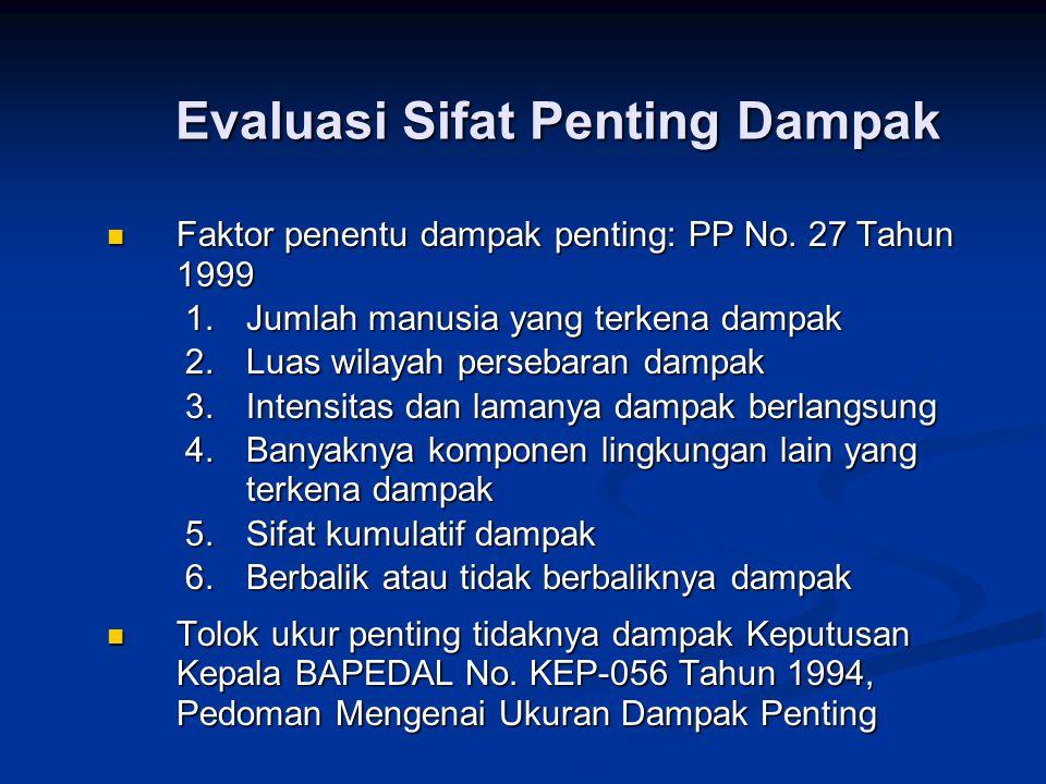 Evaluasi Sifat Penting Dampak  Faktor penentu dampak penting: PP No. 27 Tahun 1999 1.Jumlah manusia yang terkena dampak 2.Luas wilayah persebaran dam