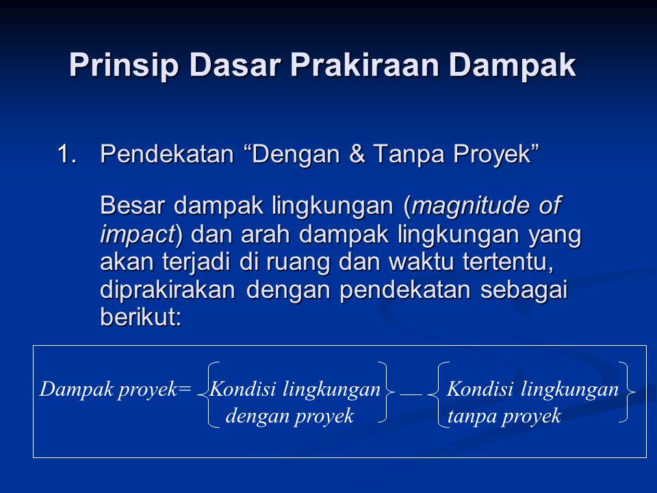 """Prinsip Dasar Prakiraan Dampak 1.Pendekatan """"Dengan & Tanpa Proyek"""" Besar dampak lingkungan (magnitude of impact) dan arah dampak lingkungan yang akan"""