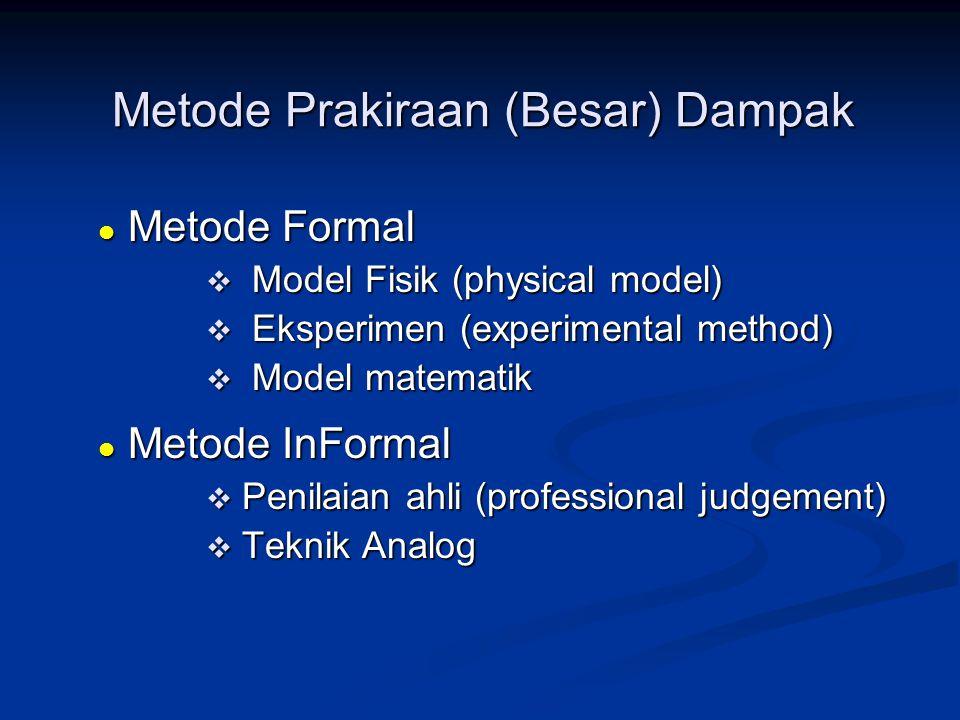 Metode Prakiraan (Besar) Dampak  Metode Formal  Model Fisik (physical model)  Eksperimen (experimental method)  Model matematik  Metode InFormal
