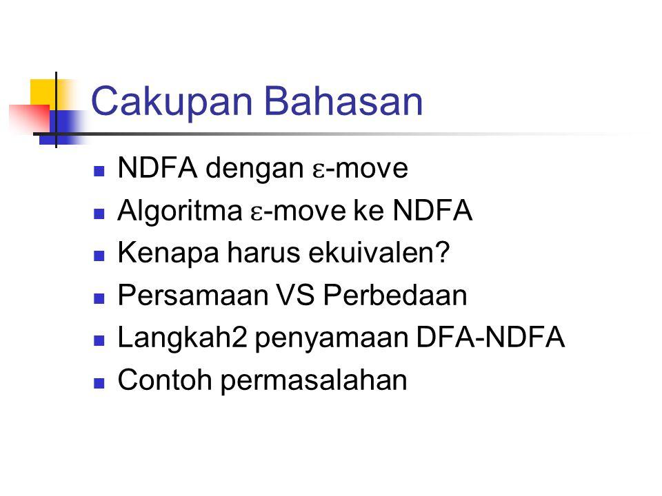 Cakupan Bahasan  NDFA dengan ɛ -move  Algoritma ɛ -move ke NDFA  Kenapa harus ekuivalen?  Persamaan VS Perbedaan  Langkah2 penyamaan DFA-NDFA  C