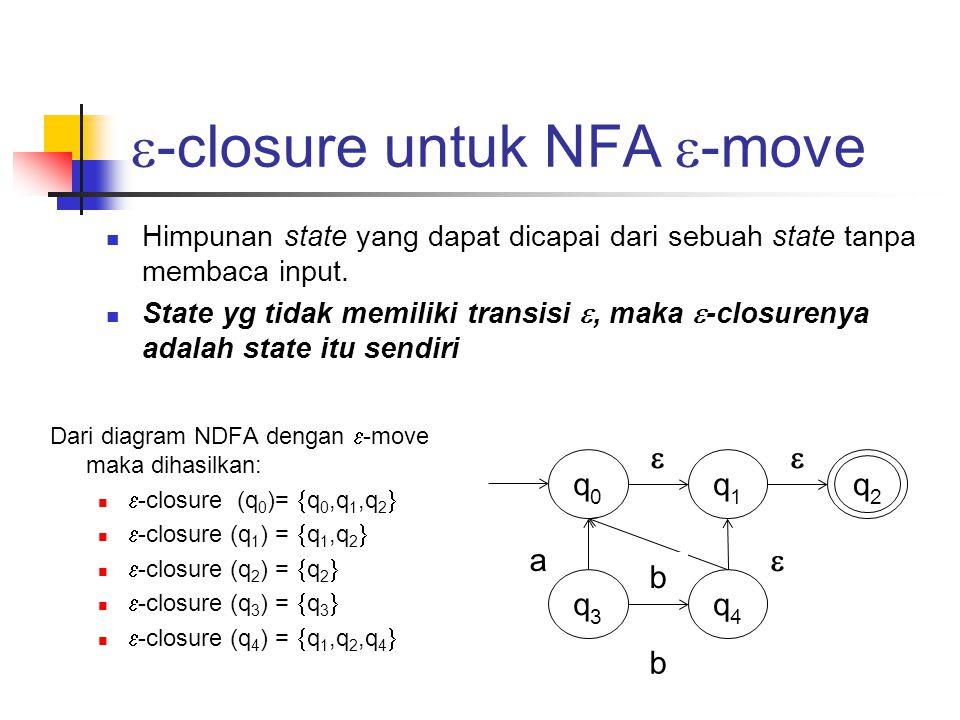 Algoritma ɛ -move ke NDFA  Buat tabel transisi NFA dengan  -move awal  Tentukan  -closure untuk setiap state  Carilah setiap fungsi transisi hasil perubahan dari NFA dengan  - move ke NFA tanpa  -move (kita sebut saja sebagai  ') dimana  ' didapatkan dengan rumus:  '(state, input) =  _closure (  (  _closure(state, input))  Berdasarkan hasil diatas, kita bisa membuat tabel transisi dan diagram transisi dari NFA tanpa  -move yang ekivalen dengan NFA dengan  - move tersebut.