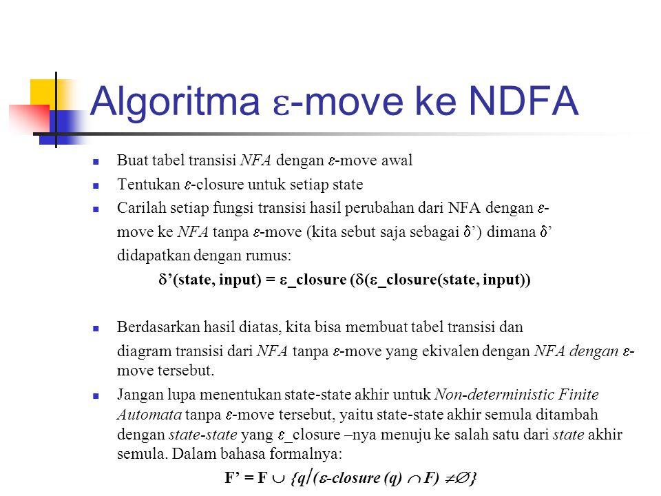 Algoritma ɛ -move ke NDFA  Buat tabel transisi NFA dengan  -move awal  Tentukan  -closure untuk setiap state  Carilah setiap fungsi transisi hasi