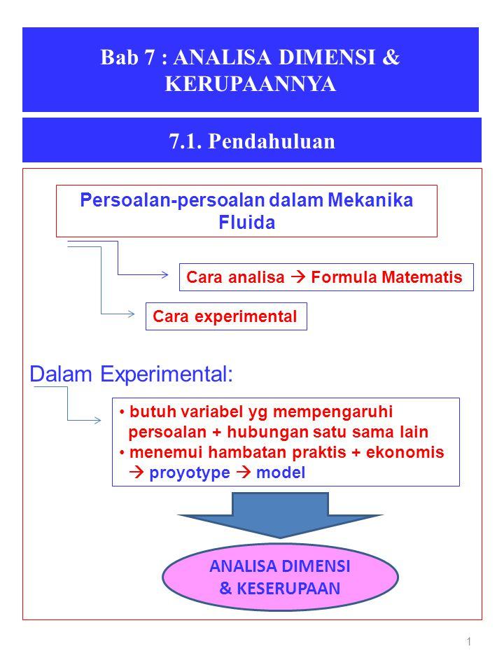 Bab 7 : ANALISA DIMENSI & KERUPAANNYA 1 7.1. Pendahuluan Dalam Experimental: Persoalan-persoalan dalam Mekanika Fluida Cara analisa  Formula Matemati