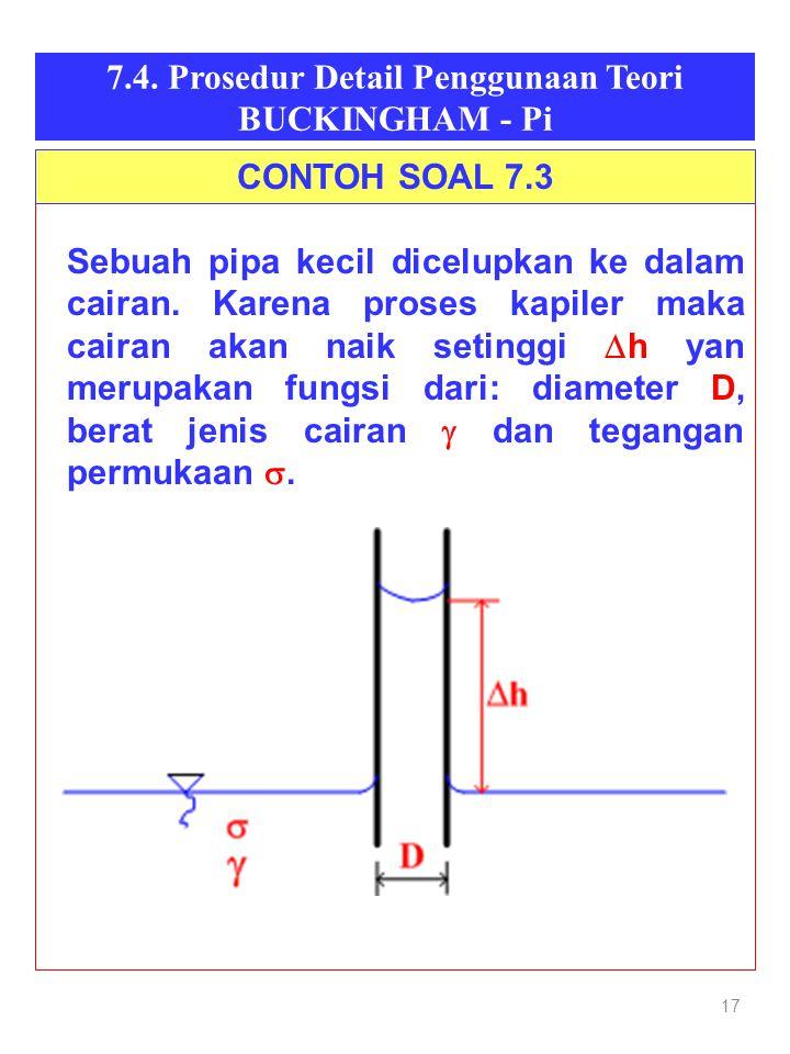 17 7.4. Prosedur Detail Penggunaan Teori BUCKINGHAM - Pi Sebuah pipa kecil dicelupkan ke dalam cairan. Karena proses kapiler maka cairan akan naik set
