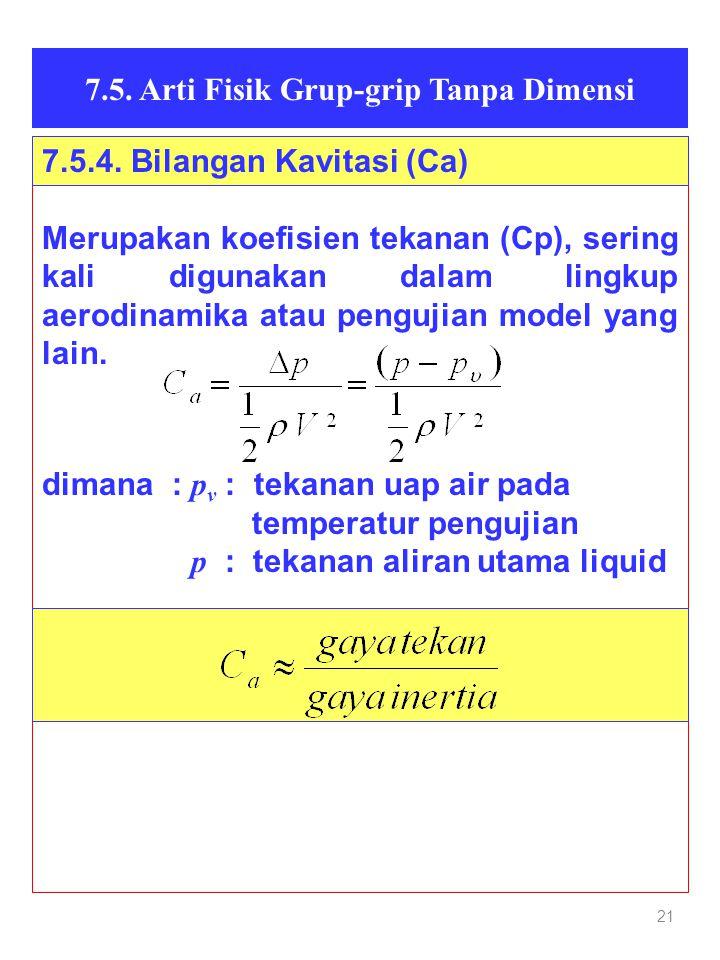 21 7.5. Arti Fisik Grup-grip Tanpa Dimensi Merupakan koefisien tekanan (Cp), sering kali digunakan dalam lingkup aerodinamika atau pengujian model yan