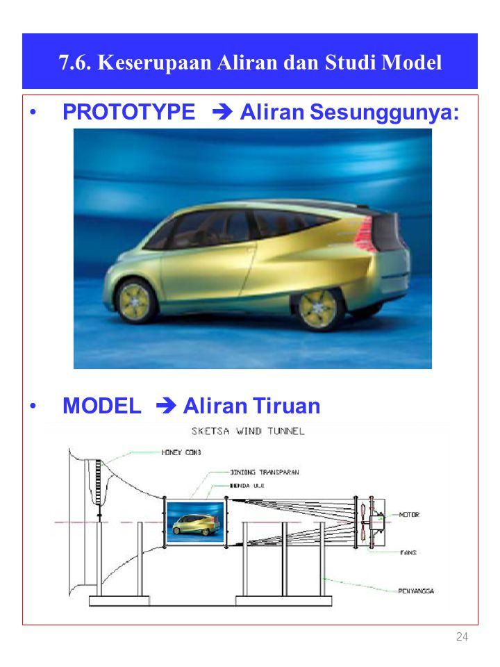 24 7.6. Keserupaan Aliran dan Studi Model •PROTOTYPE  Aliran Sesunggunya: •MODEL  Aliran Tiruan