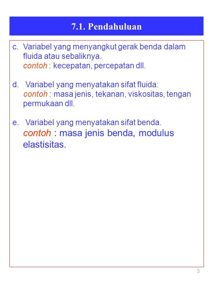 3 7.1. Pendahuluan c. Variabel yang menyangkut gerak benda dalam fluida atau sebaliknya. contoh : kecepatan, percepatan dll. d. Variabel yang menyatak