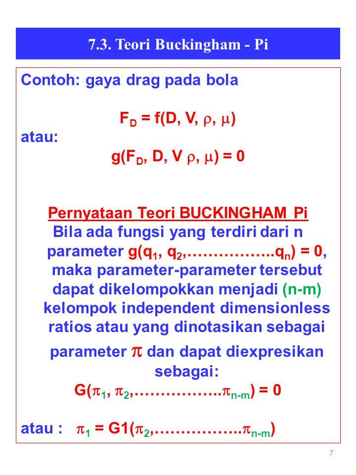 7 7.3. Teori Buckingham - Pi Contoh: gaya drag pada bola F D = f(D, V, ,  ) atau: g(F D, D, V ,  ) = 0 Pernyataan Teori BUCKINGHAM Pi Bila ada fu