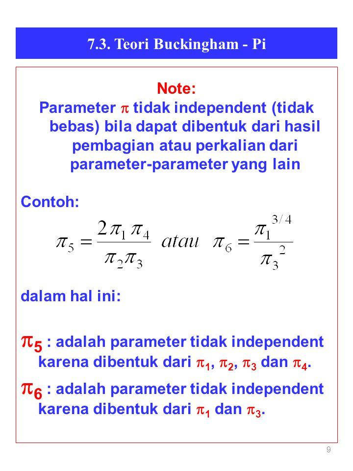 9 7.3. Teori Buckingham - Pi Note: Parameter  tidak independent (tidak bebas) bila dapat dibentuk dari hasil pembagian atau perkalian dari parameter-