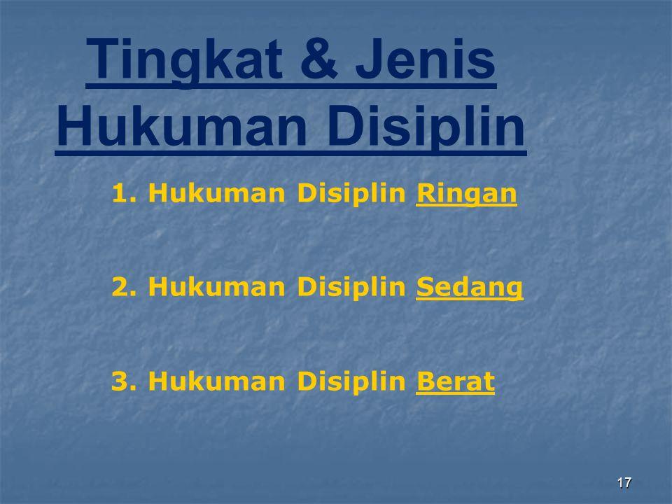 17 Tingkat & Jenis Hukuman Disiplin 1. Hukuman Disiplin Ringan 2. Hukuman Disiplin Sedang 3. Hukuman Disiplin Berat