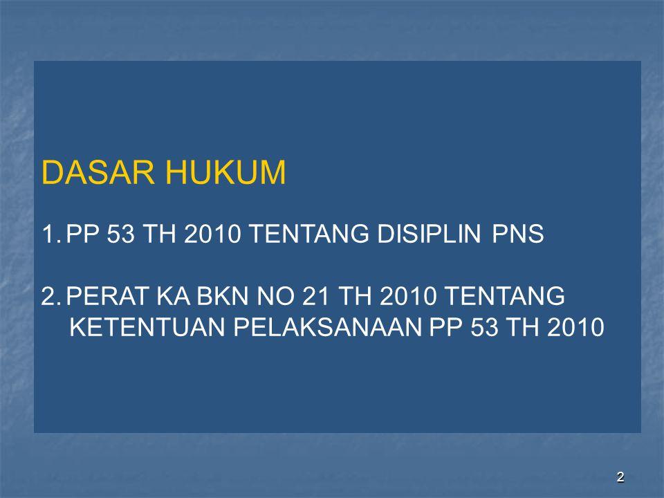 2 DASAR HUKUM 1.PP 53 TH 2010 TENTANG DISIPLIN PNS 2.PERAT KA BKN NO 21 TH 2010 TENTANG KETENTUAN PELAKSANAAN PP 53 TH 2010