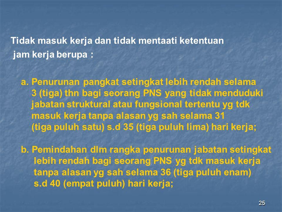 25 Tidak masuk kerja dan tidak mentaati ketentuan jam kerja berupa : a. Penurunan pangkat setingkat lebih rendah selama 3 (tiga) thn bagi seorang PNS