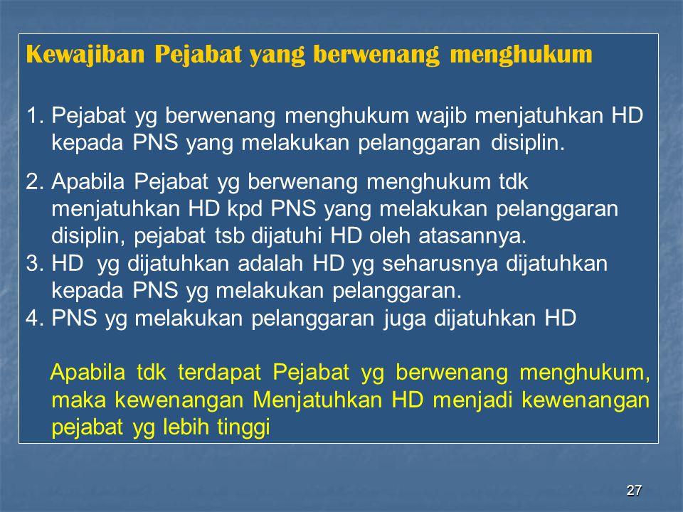 27 Kewajiban Pejabat yang berwenang menghukum 1.Pejabat yg berwenang menghukum wajib menjatuhkan HD kepada PNS yang melakukan pelanggaran disiplin. 2.