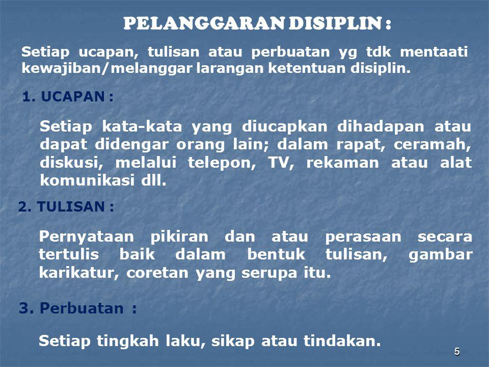 5 PELANGGARAN DISIPLIN : Setiap ucapan, tulisan atau perbuatan yg tdk mentaati kewajiban/melanggar larangan ketentuan disiplin. 1. UCAPAN : Setiap kat