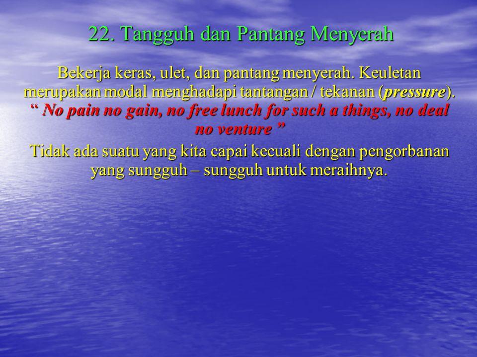 21. Memperhatikan Kesehatan dan Gizi Sangat memelihara kebugaran dan kesegaran jasmani. Kesehatan merupakan kekayaan yang tidak ternilai, sehingga kew