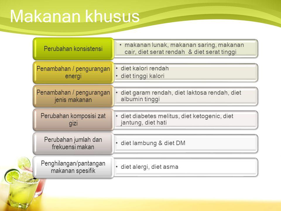 Diet untuk pemeriksaan •Pemeriksaan benzidin •Pemeriksaan pielografi intravenus •Pemeriksaan kolesistografi •Pemeriksaan toleransi glukosa •Pemeriksaan keseimbangan lemak •Pemeriksaan kolonoskopi