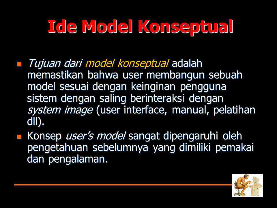 Ide Model Konseptual  Tujuan dari adalah memastikan bahwa user membangun sebuah model sesuai dengan keinginan pengguna sistem dengan saling berinteraksi dengan system image (user interface, manual, pelatihan dll).