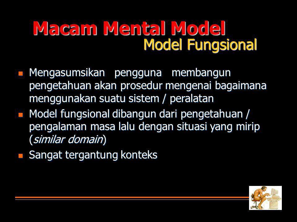 Macam Mental Model Model Fungsional  Mengasumsikan pengguna membangun pengetahuan akan prosedur mengenai bagaimana menggunakan suatu sistem / peralatan  Model fungsional dibangun dari pengetahuan / pengalaman masa lalu dengan situasi yang mirip (similar domain)  Sangat tergantung konteks