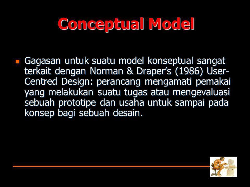  Gagasan untuk suatu model konseptual sangat terkait dengan Norman & Draper's (1986) User- Centred Design: perancang mengamati pemakai yang melakukan suatu tugas atau mengevaluasi sebuah prototipe dan usaha untuk sampai pada konsep bagi sebuah desain.