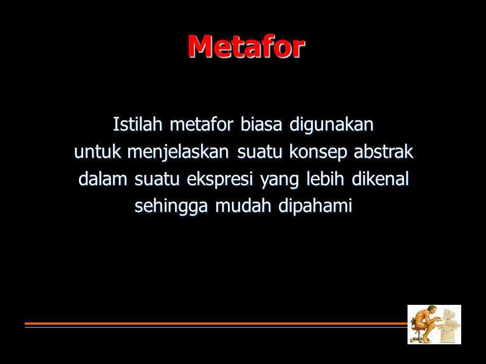 Istilah metafor biasa digunakan untuk menjelaskan suatu konsep abstrak dalam suatu ekspresi yang lebih dikenal sehingga mudah dipahami Metafor