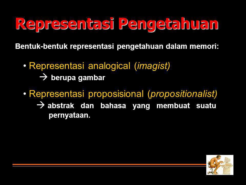 Representasi Pengetahuan Bentuk-bentuk representasi pengetahuan dalam memori: • Representasi analogical (imagist)  berupa gambar • Representasi proposisional (propositionalist)  abstrak dan bahasa yang membuat suatu pernyataan.