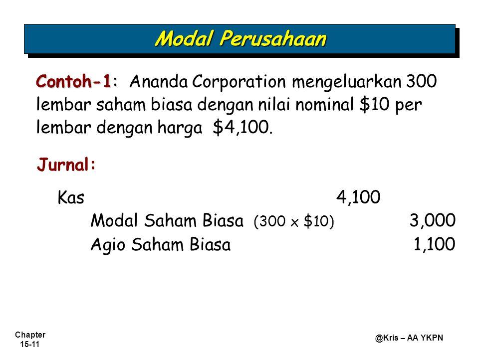 Chapter 15-11 @Kris – AA YKPN Contoh-1: Contoh-1: Ananda Corporation mengeluarkan 300 lembar saham biasa dengan nilai nominal $10 per lembar dengan ha