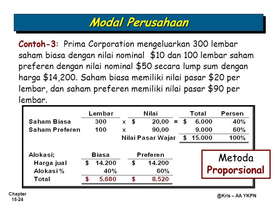 Chapter 15-24 @Kris – AA YKPN Contoh-3: Contoh-3: Prima Corporation mengeluarkan 300 lembar saham biasa dengan nilai nominal $10 dan 100 lembar saham