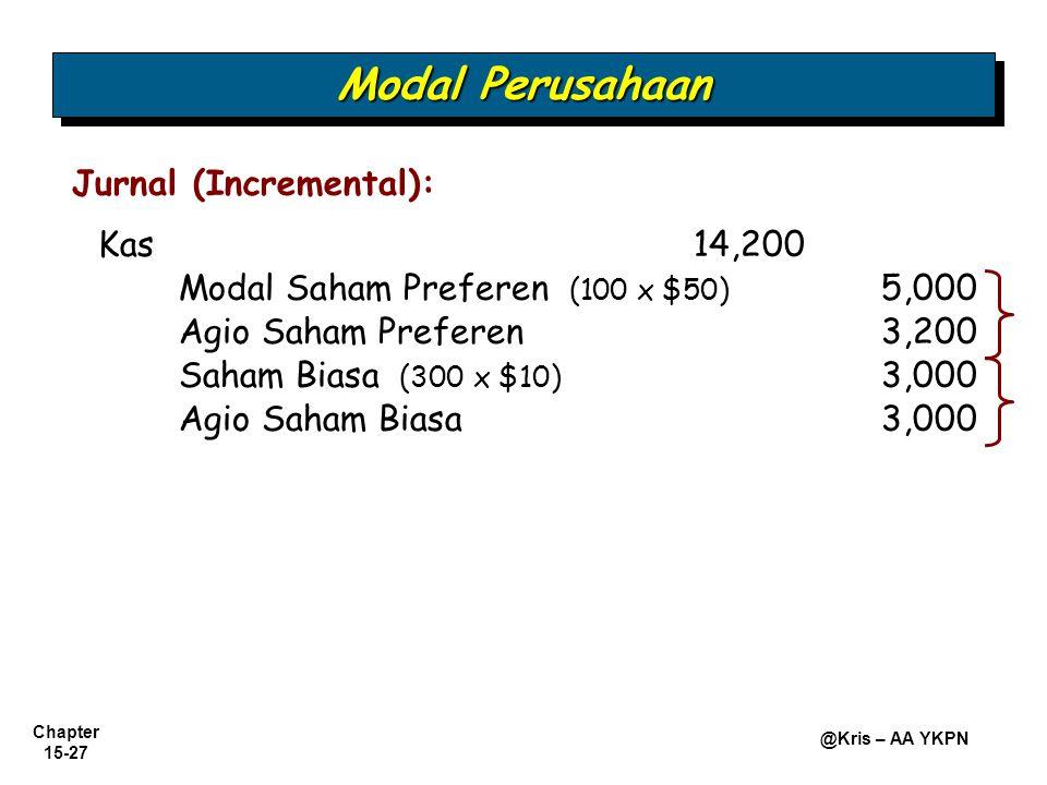 Chapter 15-27 @Kris – AA YKPN Kas14,200 Modal Saham Preferen (100 x $50) 5,000 Jurnal (Incremental): Agio Saham Preferen3,200 Saham Biasa (300 x $10)