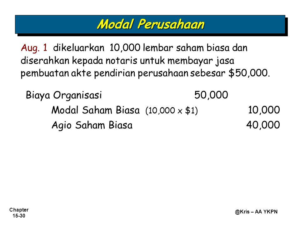 Chapter 15-30 @Kris – AA YKPN Biaya Organisasi50,000 Modal Saham Biasa (10,000 x $1) 10,000 Aug. 1 dikeluarkan 10,000 lembar saham biasa dan diserahka